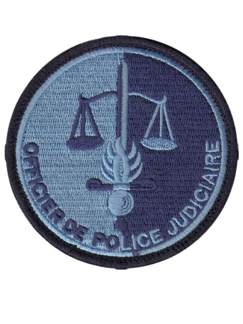 Brodé Basse Visibilité Bleu Écusson Officier de P.J
